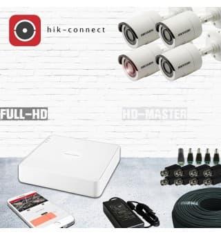 Комплект видеонаблюдения HD-TVI 4-х канальный 1080р KIT19-уличный